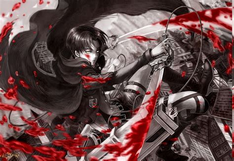 anime anime boys shingeki  kyojin blood levi