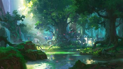 wallpaper anime landscape forest big trees water