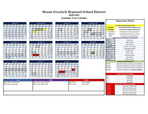 mount greylock regional school district calendar