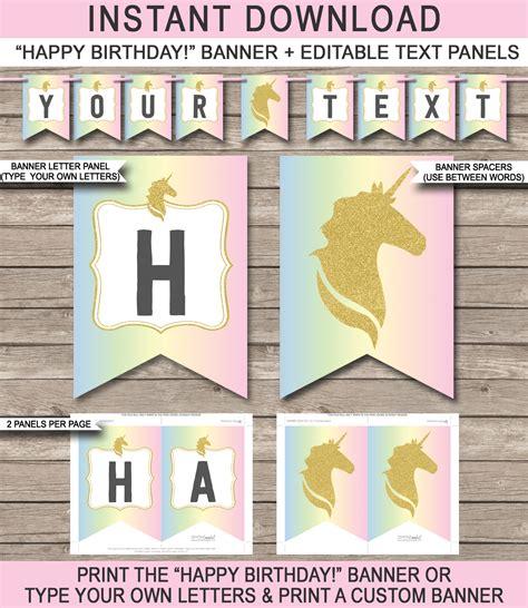 unicorn pennant banner template unicorn theme happy birthday