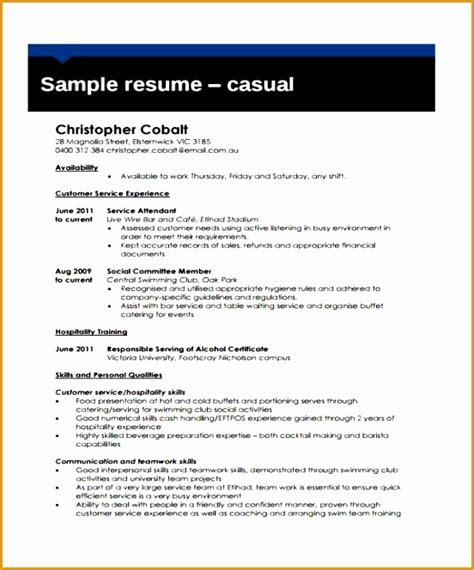 Hospitality Resume Templates Word by 6 Hospitality Curriculum Vitae Free Sles Exles