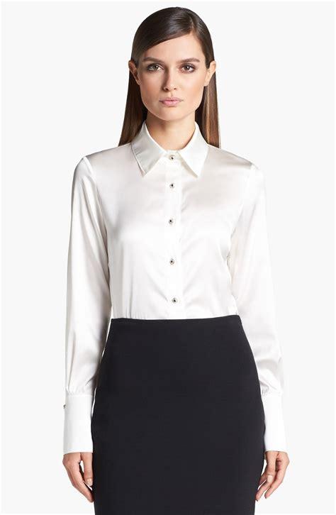silk charmeuse blouse st silk charmeuse blouse in white bright white lyst
