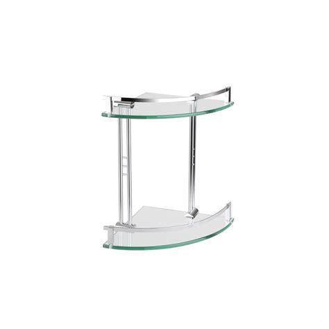 mondella chrome cadenza double glass corner shelf