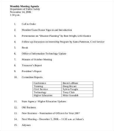 department meeting agenda template   word