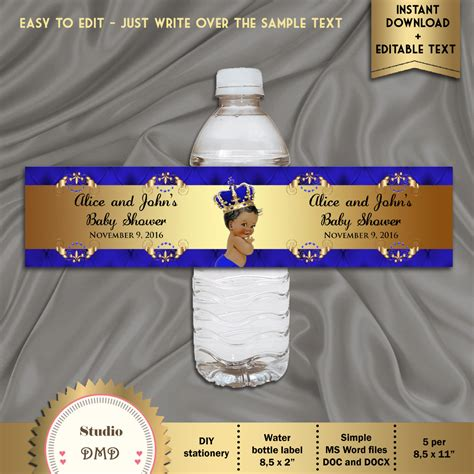 printable water bottle labels for baby shower printable baby shower water bottle labels royal baby shower