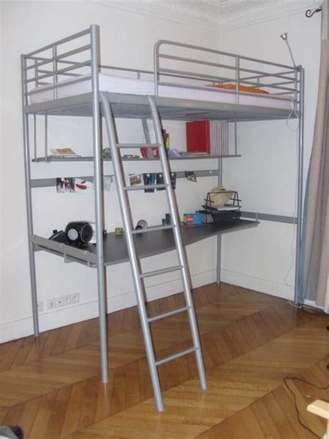 lit mezzanine 1 place bureau integre etagere mezzanine ikea table de lit
