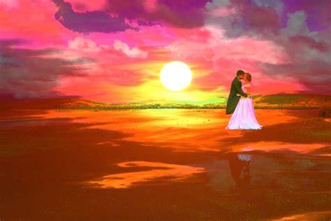 sunset beach wedding painting  stock photo public