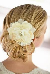 Small Pacific Ivory Peony Bridal Hair Flower With Silver