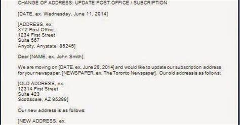 address change letter format  post office