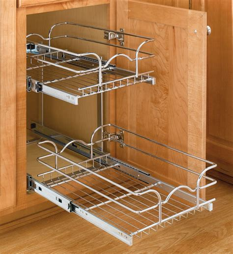 Tiered Shelves For Cabinets by Two Tier Pull Out Kitchen Shelves Cabinet Organizer