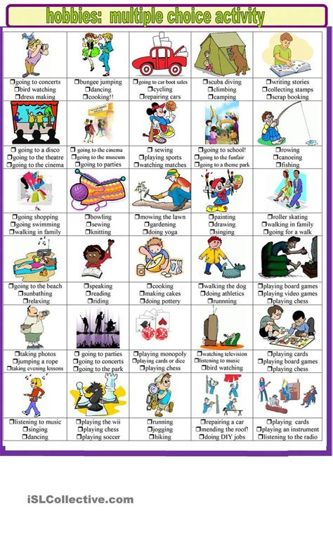 hobbies and pastimes choice activities esl
