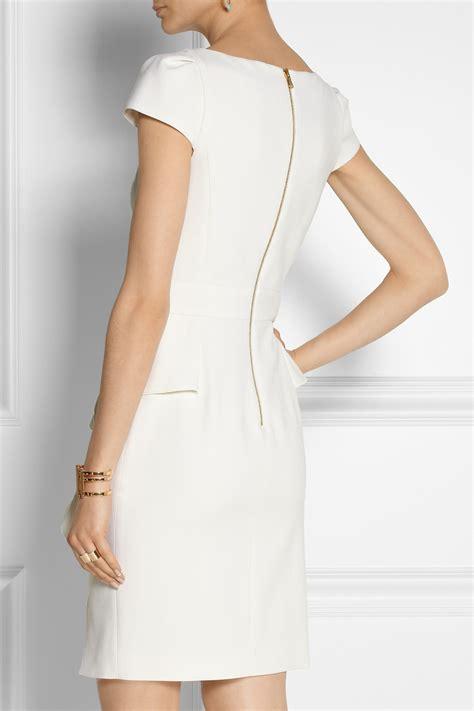 emilio pucci stretch wool crepe peplum mini dress  white