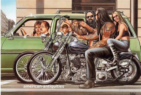 Dave David Mann Biker Art Motorcycle Poster Print Saturday