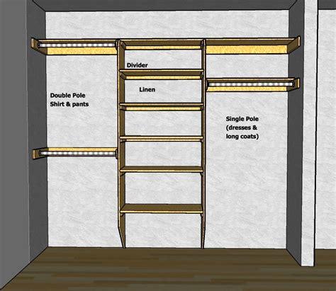 Simple Walk In Closet Depth Ideas closet shelving layout design thisiscarpentry