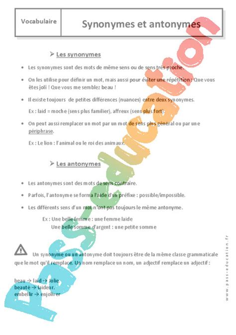 Contraire De Vaniteux by Domino Des Contraires Fiche D39exercices Fiches T