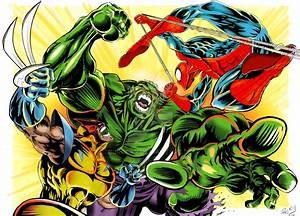 hulk vs spiderman and wolverine by CJRocky on DeviantArt