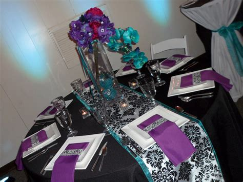 purple teal black and white table decorations wedding