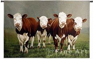 Fab Four Hereford Cattle LARGE Wall Tapestry & Rod 53 x 78