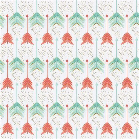 coral and teal arrows fabric by the yard coral fabric carousel designs