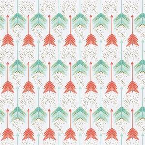 Coral and Teal Arrows Fabric by the Yard | Coral Fabric ...