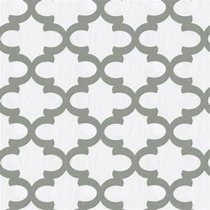 White and Cloud Gray Large Quatrefoil Fabric by the Yard ...