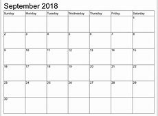 Free September 2018 Blank Calendar Printable {Download