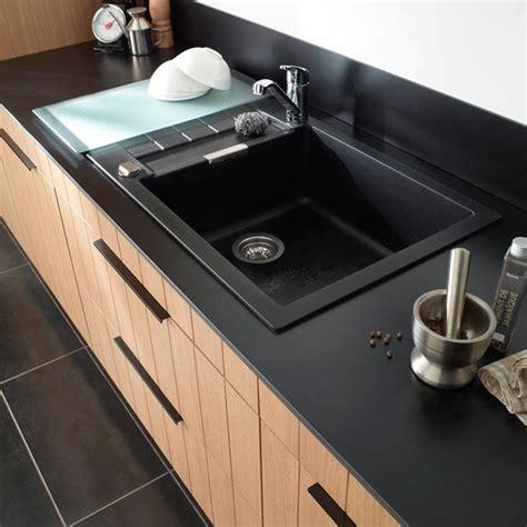 plan de travail cuisine avec evier integre évier granit à encastrer noir alios castorama evier