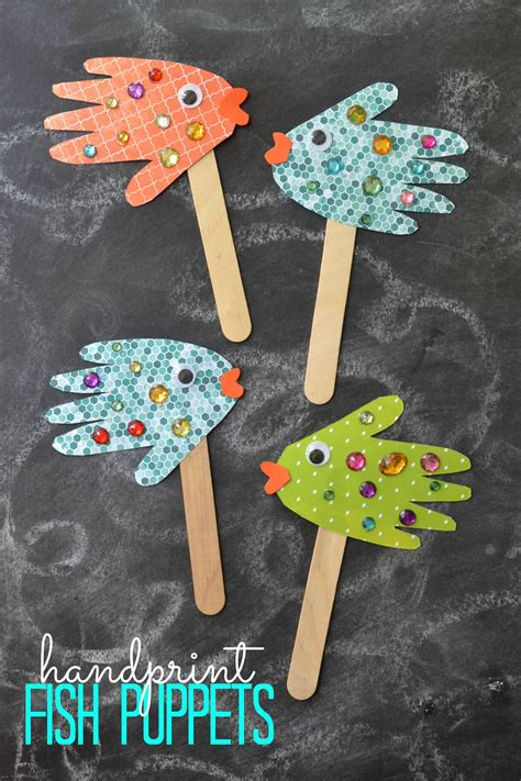 easy kids craft handprint fish puppets daycare crafts