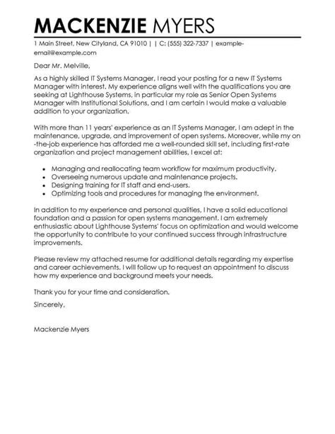 Www Cover Letter by Best It Cover Letter Exles Livecareer