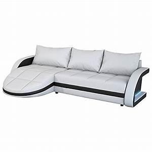 Couch Mit Großer Liegefläche : eck sofa wei schwarz in leder optik edle designer couch mit led gro er 3 sitzer 265 cm breit ~ Bigdaddyawards.com Haus und Dekorationen