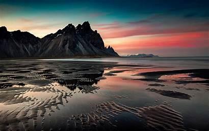 Desktop Sunset Sea Mountains Sand Coast 1440