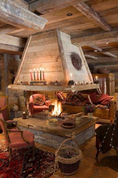 indoor fire pit rustic house log homes cabin decor
