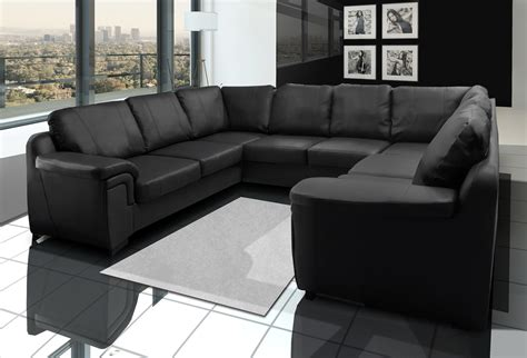 U Sofas by Large Sofa Set Corner U Shape Black Or White Ebay