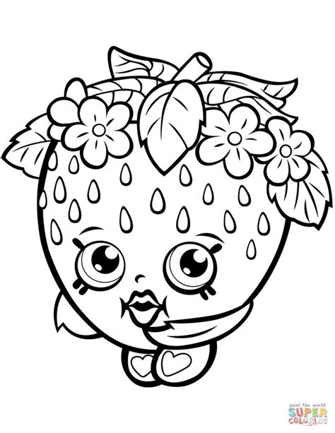 strawberry kiss shopkin coloring page  printable