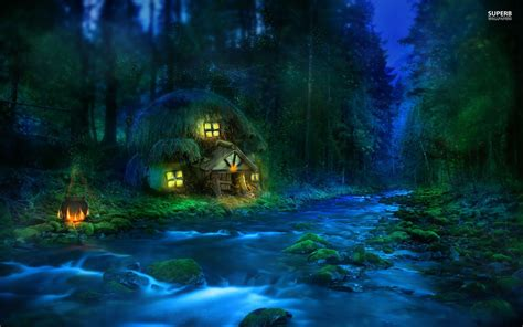 Anime House Wallpaper - anime house in forest small riverside hut in the forest