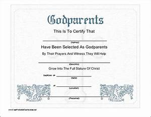this printable certificate recognizes the selection of With godparent certificate template