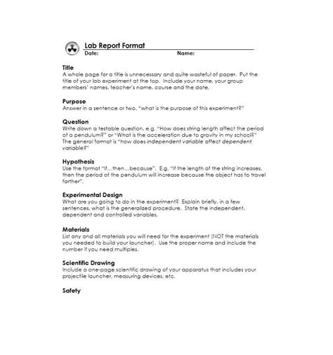 lab report template 40 lab report templates format exles template lab