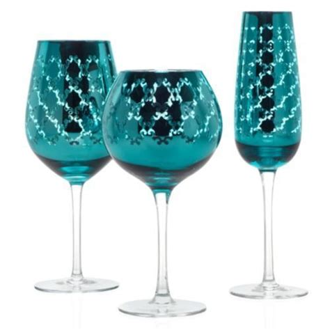 teal designs blue champagne glass  wine flute