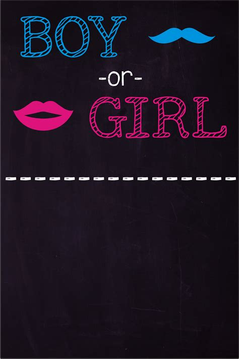 gender reveal mustache lips chalkboard style baby shower