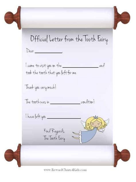 tooth fairy letter template levelings
