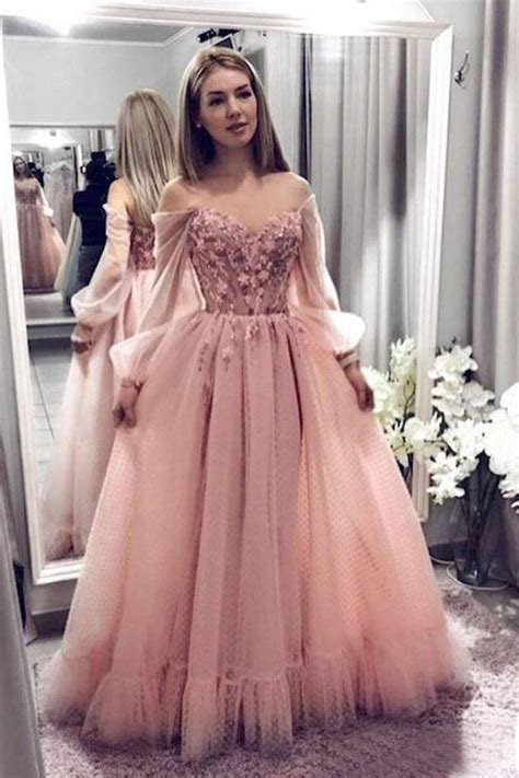 Princess Ball Gown Blush Pink Lace Prom Dresses With Long ...