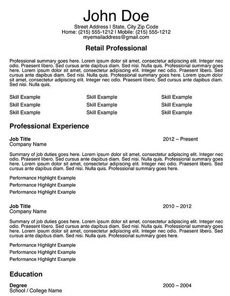 Retail Experience Exles For Resume by 3 Free Retail Sales Associate Resume Templates