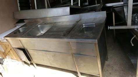 used stainless steel table with sink for sale secondhand catering equipment triple bowl sinks