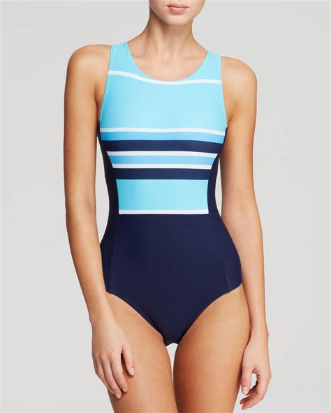 high neck one swimsuit dkny slip stripes high neck one swimsuit in blue lyst