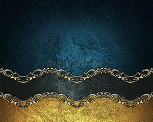 Bookmark Template Download Grunge Blue Background With A Black Ribbon With Gold