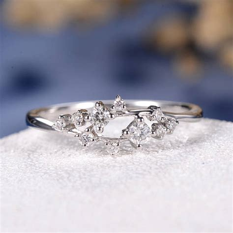 unique diamond cluster ring twig engagement ring floral wedding band snowflake white gold dainty