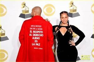 Alicia Keys Poses With Husband Swizz Beatz In Grammys 2018