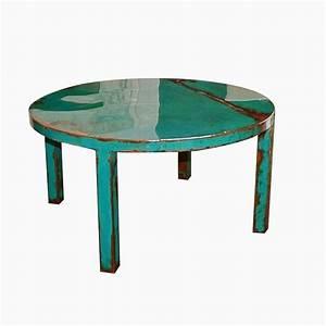 Hand made custom round metal coffee table art with for Handmade round coffee table
