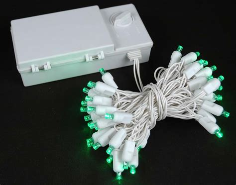 50 led battery operated lights green on white