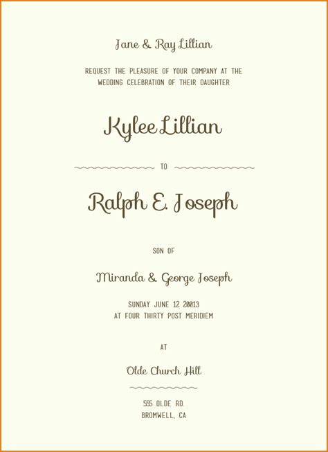 sample wording  wedding invitations